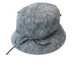 Gray wool look bucket hat with ribbon bow